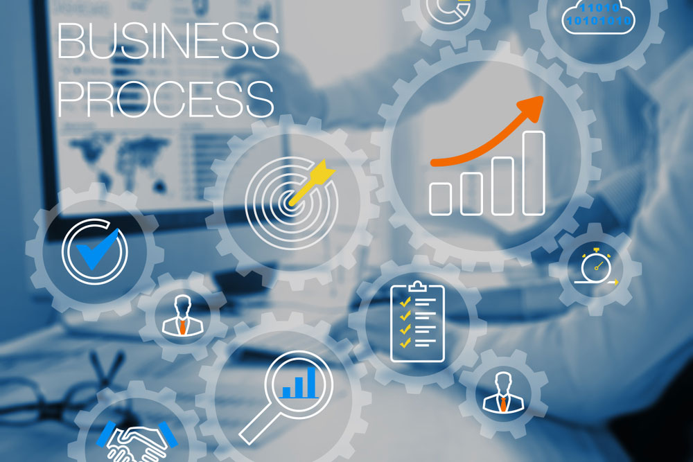 Finding the right CRM depends on your business processes - a faded image of two people in front of a screen, with cogs overlaid along with text saying 'business process'