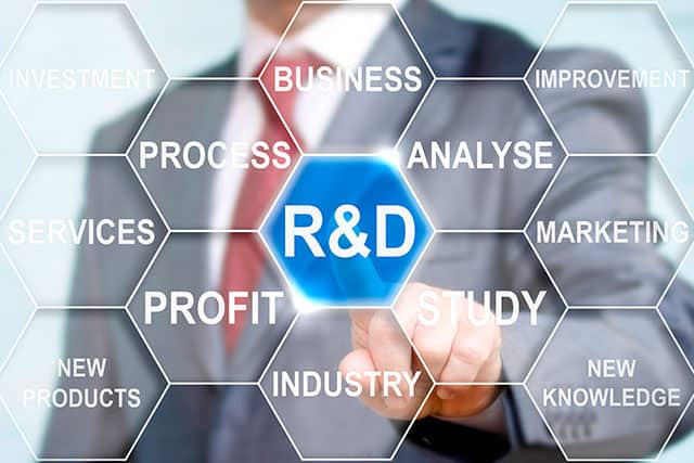a graphic of a man in a suit pushing the R&D button